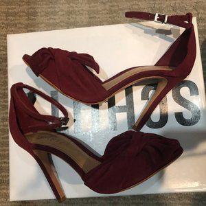 SCHUTZ-NATALLY RED WINE HIGH HEEL SANDALS